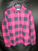 Orvis S Hot Pink Red Navy Blue Plaid Fleece Lined Flannel Shirt Jacket Snap Sm