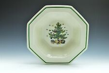 Nikko Christmastime Christmas Tree Holiday White Octagonal Serving Bowl EUC