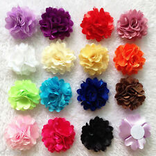 10pcs Fabric Flower Hair Clip Brooch Pin Boutonniere Shoes Cloth Accessories DIY