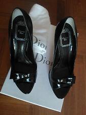 Dior city peep toe, colore nero lucido, tacco 12 cm. Taglia: 36 e mezzo. Nuove.