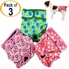 PACK of 3 Dog Diapers Female Cat LEAK PROOF Waterproof Washable Small Large Pets