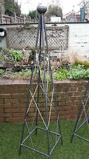 rusted steel metal 1.5m pea bean lattice pyramid garden plant support obelisk