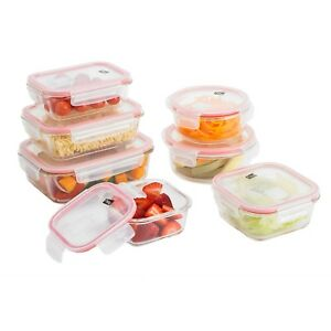 Neo 7pc Glass Food Storage Containers & 7 Airtight Tupperware Clip Lids