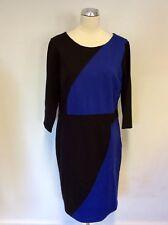 STUDIO 8 BLACK & BLUE COLOUR BLOCK PENCIL DRESS SIZE 20