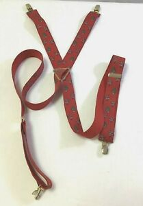 Santa Suspenders Red Brass CAS West Germany Christmas Tree Holiday Vintage Red