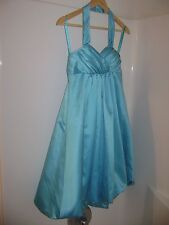 Teal Turquoise halter top winter swirl bridesmaid prom homecoming dress sz 2 NWT