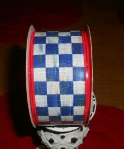 """MACKENZIE CHILD 2"""" WIRED ROYAL CHECK WITH CREAM AND RED BACKING!!   BRAND NEW PU"""