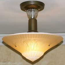 327 30 40s Vintage Custard Glass CEILING LIGHT fixture shade custard 1 of 2 set