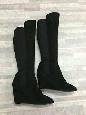 NEW Charles Davis Knee High Wedge Heel Boots Color Black Size: 8 M