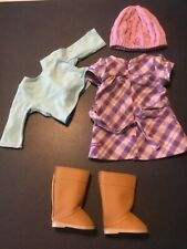 Retired American Girl Pretty and Plaid Dress Shirt Outfit Boots Hat
