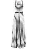 FashionOutfit Women's Sleeveless Racer-Back Waistband Striped Long Maxi Dress