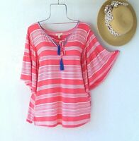New~$58~Coral White Blue Peasant Blouse Shirt Ruffle Boho Top~Size Small S