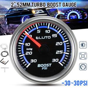 2 inch 52mm LED -30~30PSI Car Turbo Boost Gauge Pressure Black Face Universal US