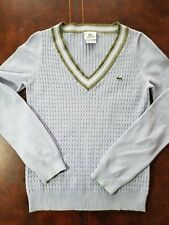 euc mens izod Lacoste sport v neck cable knit sweater purple green white