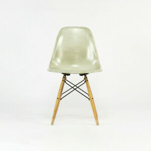 Eames Modernica Case Study Natural Fiberglass Side Shell Chair with Dowel Base