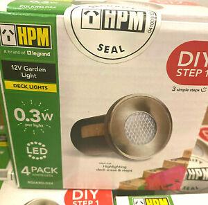 NEW 12V HPM LED Deck & Step Lights 4 Pack Brushed Silver RGLKRSLD24 Add on Pack