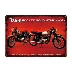 Metal Tin Sign BSA rocket gold star  Bar Pub Home Vintage Retro Poster Cafe ART