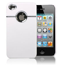 Deluxe White Hard Protective Case Cover with Chrome For iPhone 4S 4