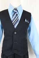 Light Sky Baby Blue boys pinstripe vest 4 piece set formal suit easter all size