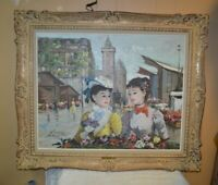 Large Francois Gerome Two Women in Paris Painting_Beautiful