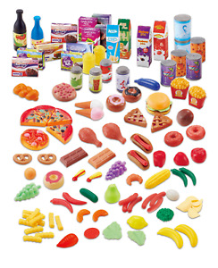 120 Piece Plastic Play Food Toy Fruit Vegetable Cakes Kids Grocers Shop Set 549