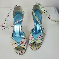 Coach Womens Rainbow Polka Dot Peep Toe Ankle Tie High Heels Shoes Sz 6