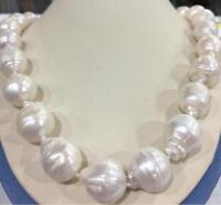 "12-14mm weiße Südsee Barock Perlenkette 18 ""925 Silber Verschluss"