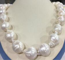 "12-14MM WHITE SOUTH SEA BAROQUE PEARL NECKLACE 18"" 925 Silver Clasp"