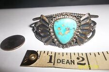 Leaf Applique Cuff Bracelet Navajo Handmade Sterling Silver Turquoise