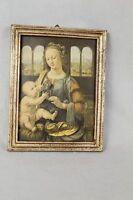 Bild im Holz Rahmen - Mutter mit Kind - wohl Nachdruck eines Öl Gemäldes   /S175