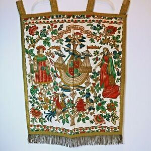 Large Wall Hanging Tapestry 15 Century French 26 x 22 Gorgeous detail Stunning