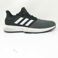 Adidas Mens Gamecourt CG6334 Black White Running Shoes Lace Up Low Top Size 12.5