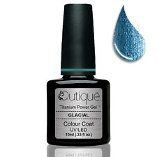 QUTIQUE Gel Nail Polish Colour -GLACIAL -UV & LED -light tiffany blue glitter