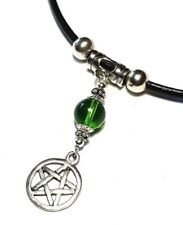 Black Real Leather Cord Choker Pentagram Wiccan Pagan Charm Necklace Pendant