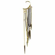 Caratcube Golden Spiked Tassel Non Piercing Single Piece Ear Cuff EarringsCTC-36
