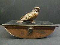 """Austrian Ink Blotter Bird Bronze Metal Rocker Antique Writing tool Engraved """"M"""""""