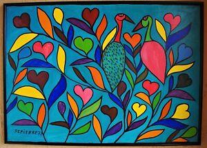 VINTAGE ORIGINAL FOLK ART HAITIAN SAINT PIERRE TOUSSAINT CANVAS HAITI BIRDS 3625