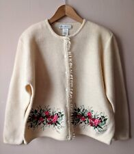Vintage 90s y2k cream embroidered wool cardigan L large 16-18 secretarial geek