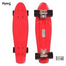 """22"""" Retro Mini Skateboard Cruiser Style Complete Deck Plastic Skate Board Red"""