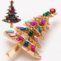 Fashion Christmas Tree Alloy Rhinestone Brooch Pin Women Xmas Party Gift Decor