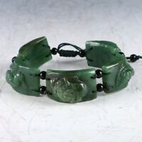 100% Natural  Green Jade Hand Carved Fashion Bracelet