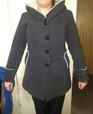 Charcoal Winter Coat with Wool-blend Lining and Hood