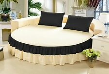 1 piece Egyptian Cotton Twin Color Ruffle Round Bed Skirt with 15 Inch Drop