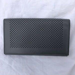 NWT Coach Men's Perforated Leather Phone Clutch Wallet MSRP $125