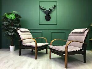 Vintage  Art Deco Bentwood Armchairs Chaise German Carl Bollmann set of 2