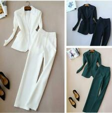 Spring Women Office Jacket Lady Formal Blazer High Waist Long Trousers 2Pcs Suit