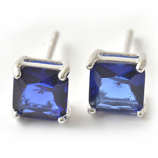 Mens Womens Silver Square white Gold Filled Blue Sapphire Hip Hop Stud Earrings