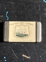 VINTAGE CELLULOID ADVERTISING MATCH SAFE THE IRONSIDES COMPANY RARE ANTIQUE