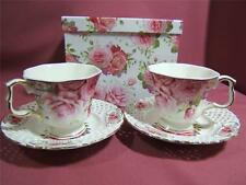 BONE CHINA  ROSE  SET OF 2 CUPS & SAUCERS -  NEW  DESIGN JUST GORGEOUS