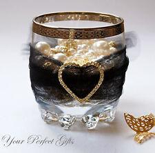 "12 HEART 1.5"" Wedding Gold Rhinestone Diamante Buckles"